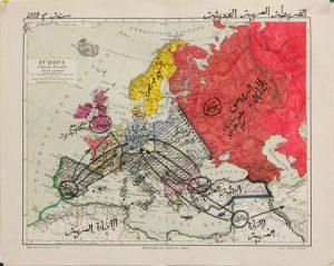 """Manaf Halbouni """"Die Neue Arabische Karte"""", 2015, Zeichnung, Tusche auf Papier, 24 x 30 cm, Courtesy: MdbK Leipzig/Manaf Halbouni"""